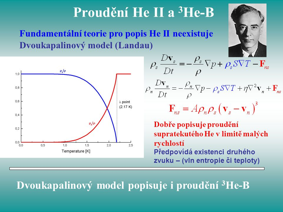 Proudění He II a 3He-B Dvoukapalinový model popisuje i proudění 3He-B