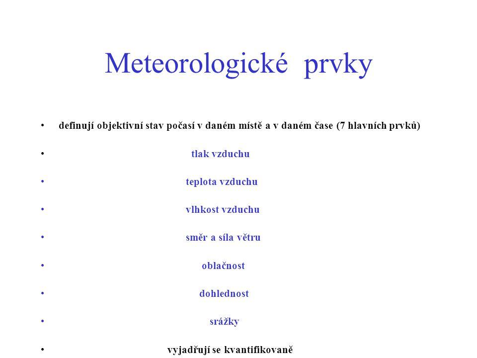 Meteorologické prvky definují objektivní stav počasí v daném místě a v daném čase (7 hlavních prvků)