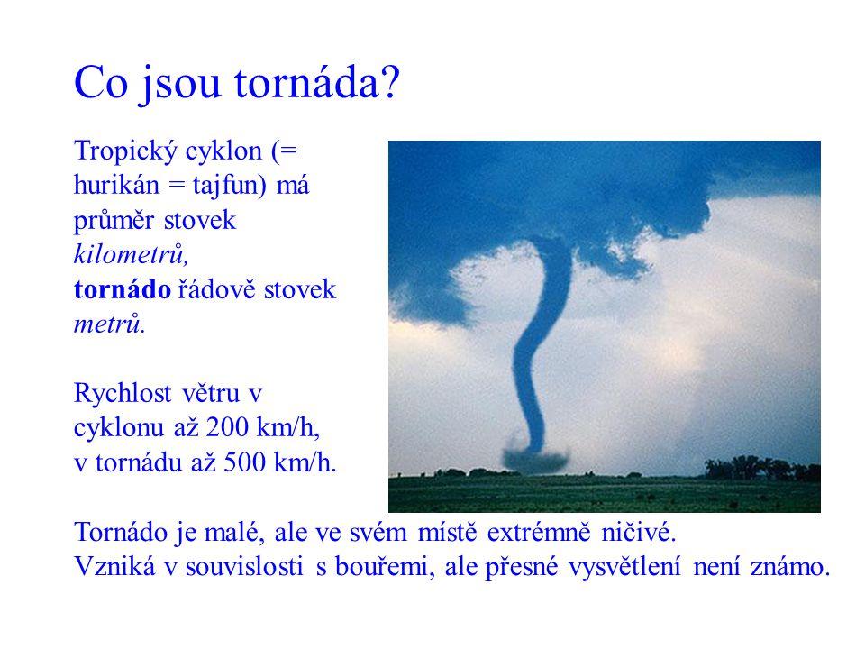 Co jsou tornáda Tropický cyklon (= hurikán = tajfun) má průměr stovek kilometrů, tornádo řádově stovek metrů.
