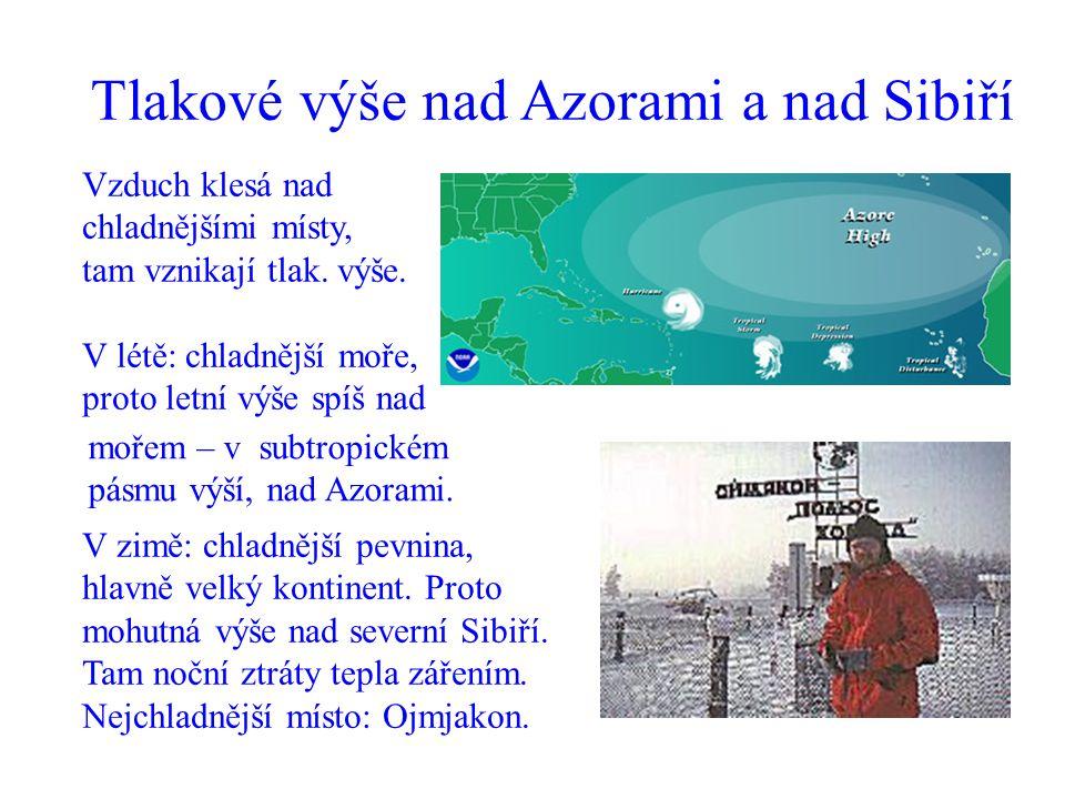 Tlakové výše nad Azorami a nad Sibiří