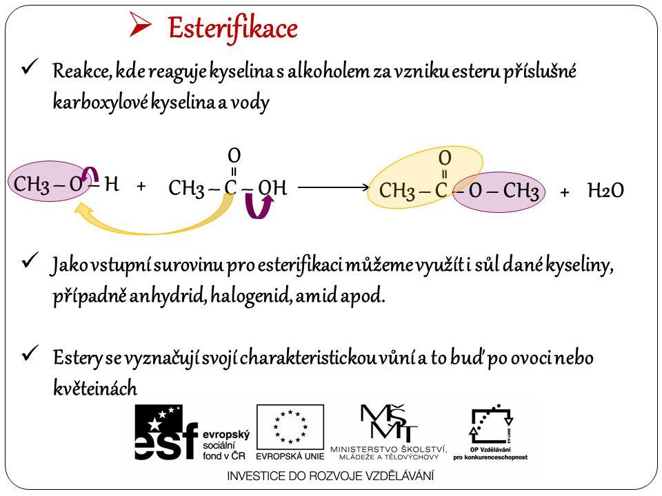 Esterifikace Reakce, kde reaguje kyselina s alkoholem za vzniku esteru příslušné karboxylové kyselina a vody.