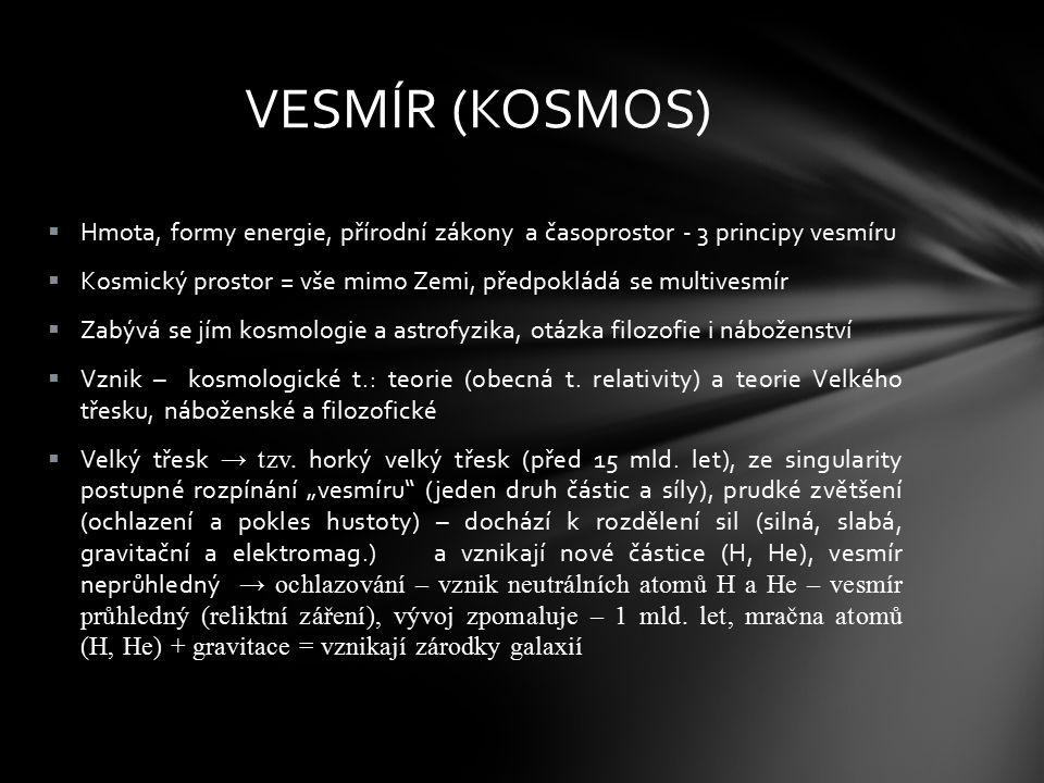 VESMÍR (KOSMOS) Hmota, formy energie, přírodní zákony a časoprostor - 3 principy vesmíru.