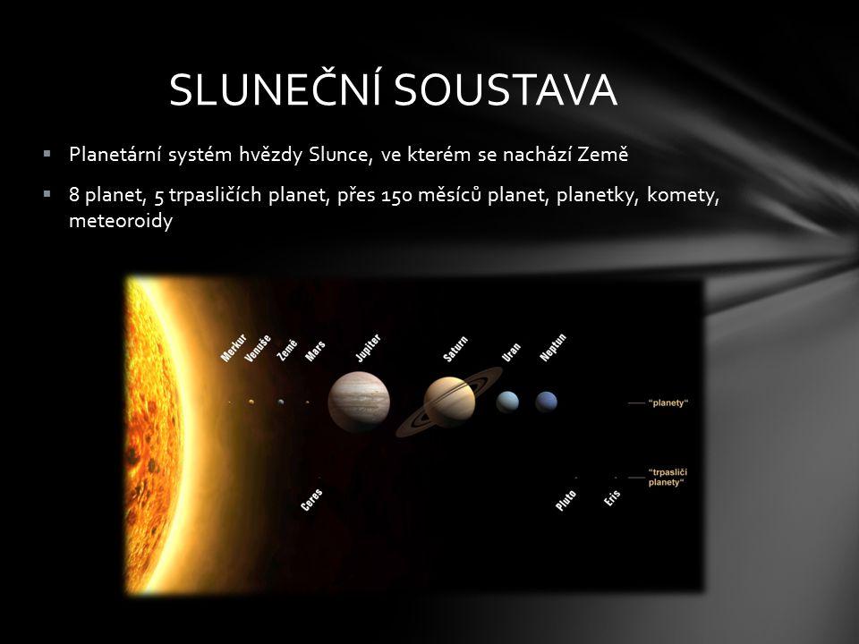 SLUNEČNÍ SOUSTAVA Planetární systém hvězdy Slunce, ve kterém se nachází Země.