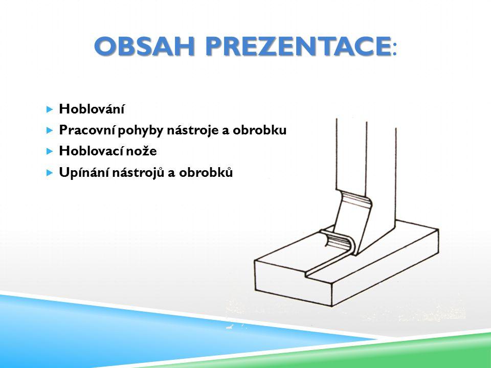 Obsah prezentace: Hoblování Pracovní pohyby nástroje a obrobku