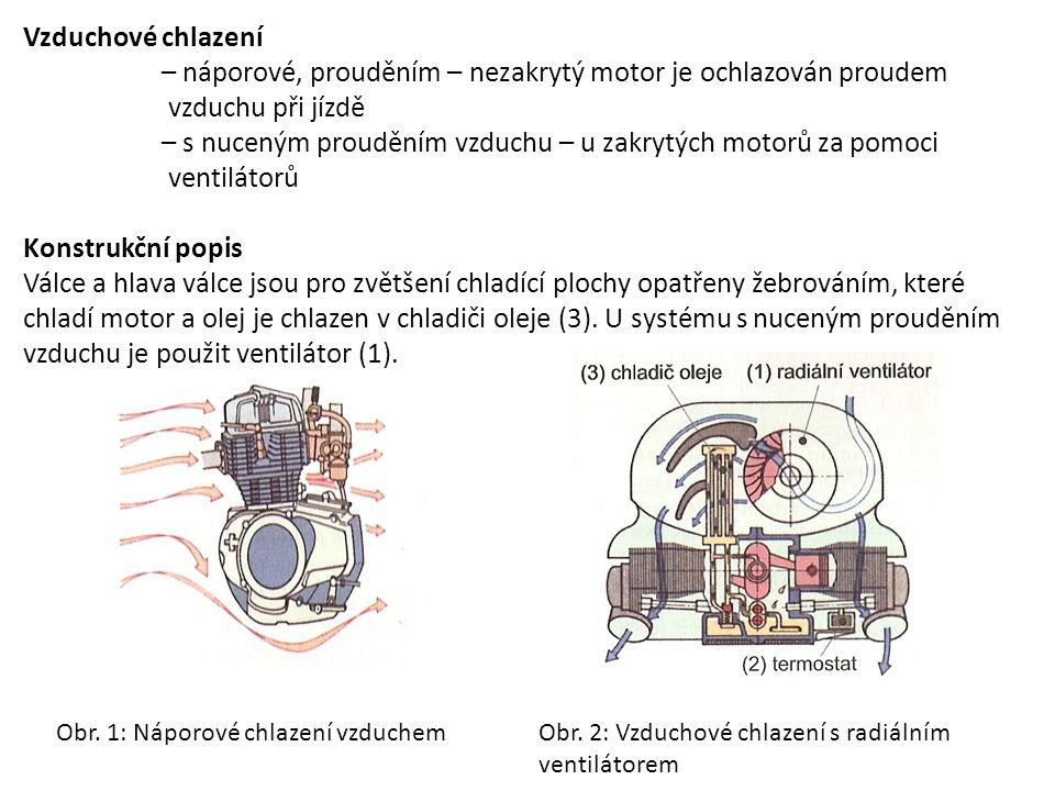 – náporové, prouděním – nezakrytý motor je ochlazován proudem