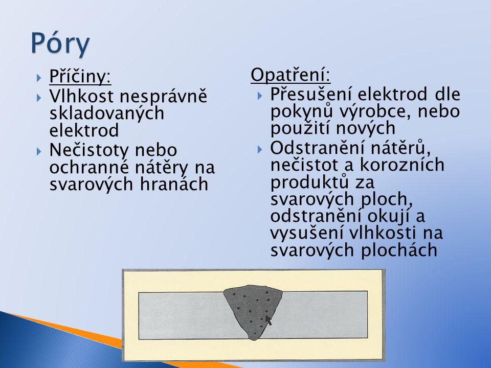 Póry Příčiny: Vlhkost nesprávně skladovaných elektrod