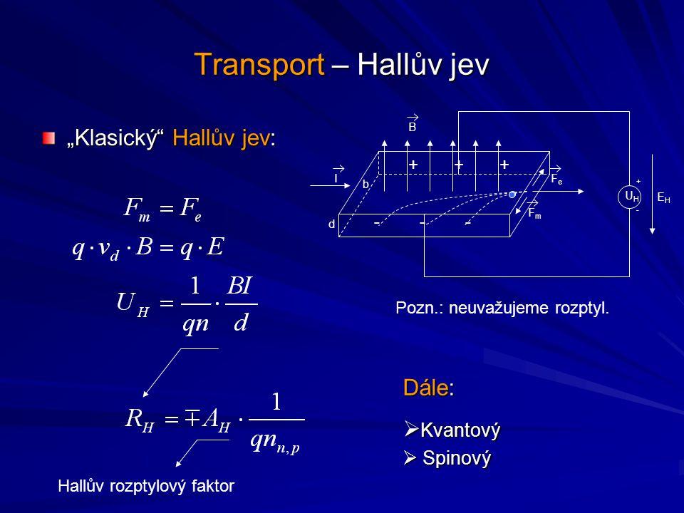 """Transport – Hallův jev """"Klasický Hallův jev: Dále: Kvantový Spinový +"""