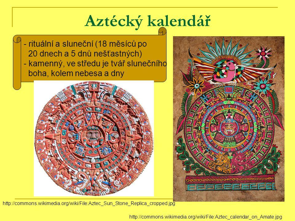 Aztécký kalendář - rituální a sluneční (18 měsíců po