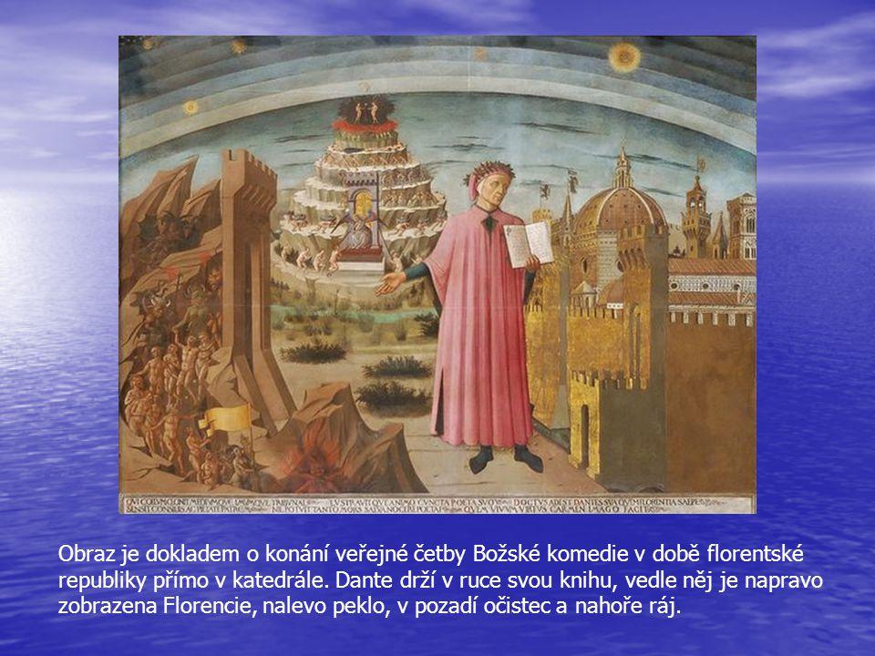 Obraz je dokladem o konání veřejné četby Božské komedie v době florentské republiky přímo v katedrále.