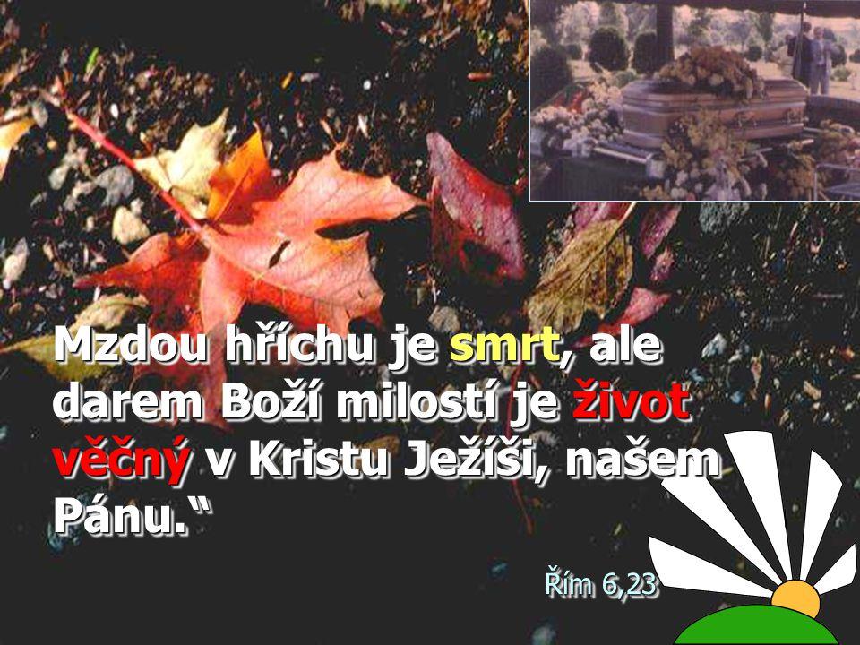 Mzdou hříchu je smrt, ale darem Boží milostí je život věčný v Kristu Ježíši, našem Pánu. Řím 6,23