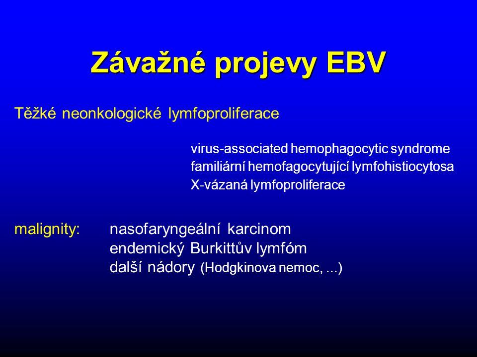 Závažné projevy EBV Těžké neonkologické lymfoproliferace