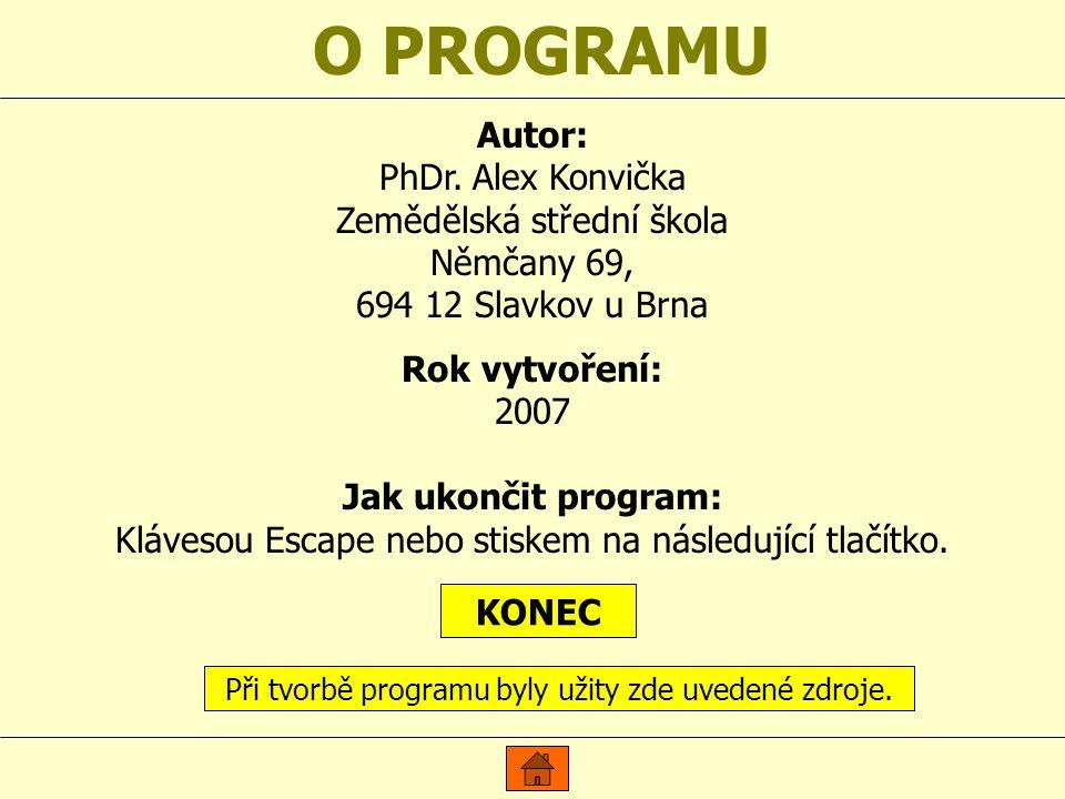 O PROGRAMU Autor: PhDr. Alex Konvička Zemědělská střední škola