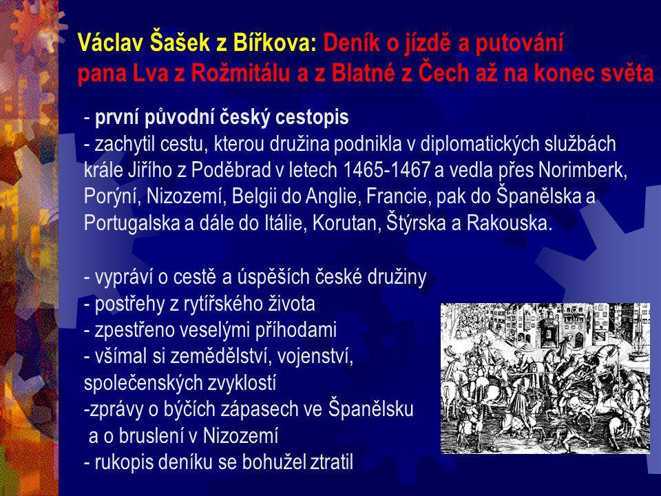 Václav Šašek z Bířkova: Deník o jízdě a putování