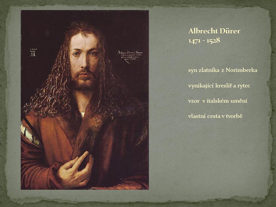 Albrecht Dürer 1471 - 1528 syn zlatníka z Norimberka. vynikající kreslíř a rytec. vzor v italském umění.