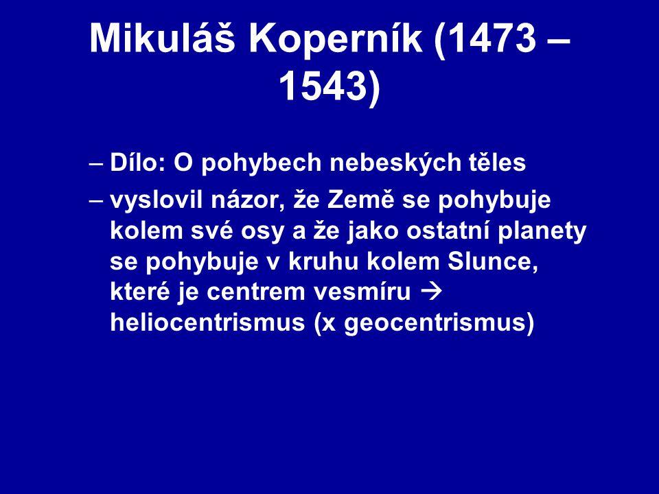 Mikuláš Koperník (1473 – 1543) Dílo: O pohybech nebeských těles