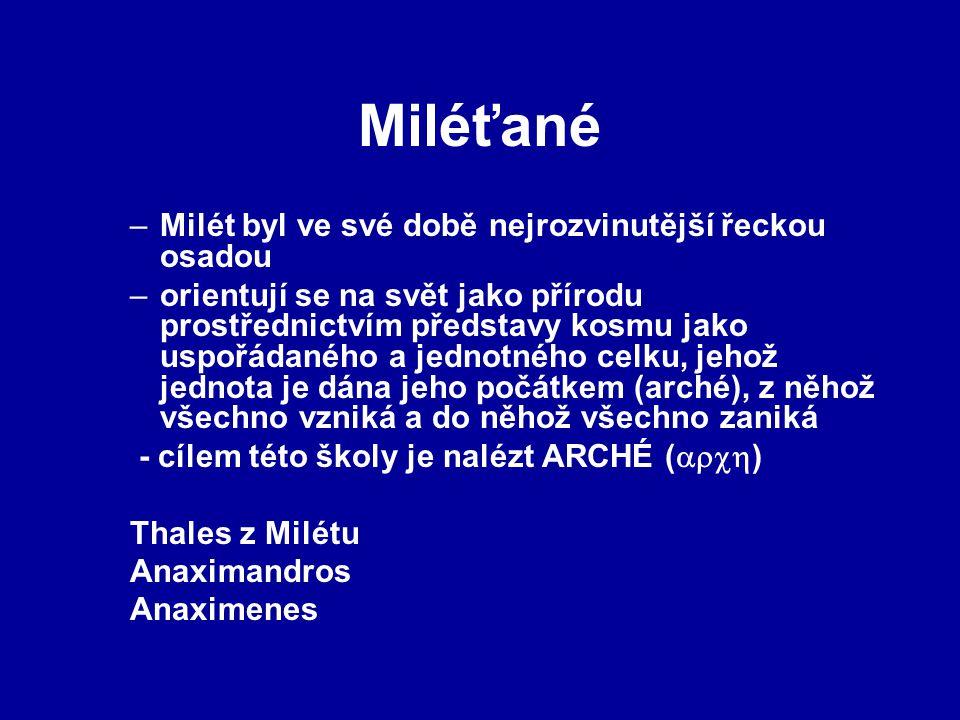 Miléťané Milét byl ve své době nejrozvinutější řeckou osadou