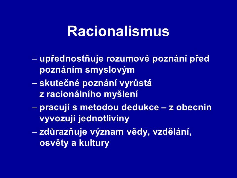 Racionalismus upřednostňuje rozumové poznání před poznáním smyslovým
