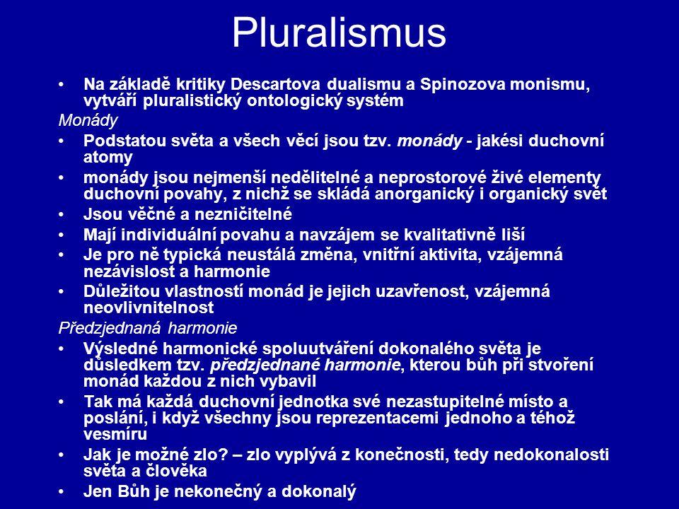 Pluralismus Na základě kritiky Descartova dualismu a Spinozova monismu, vytváří pluralistický ontologický systém.