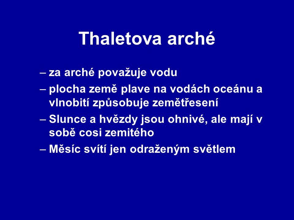 Thaletova arché za arché považuje vodu
