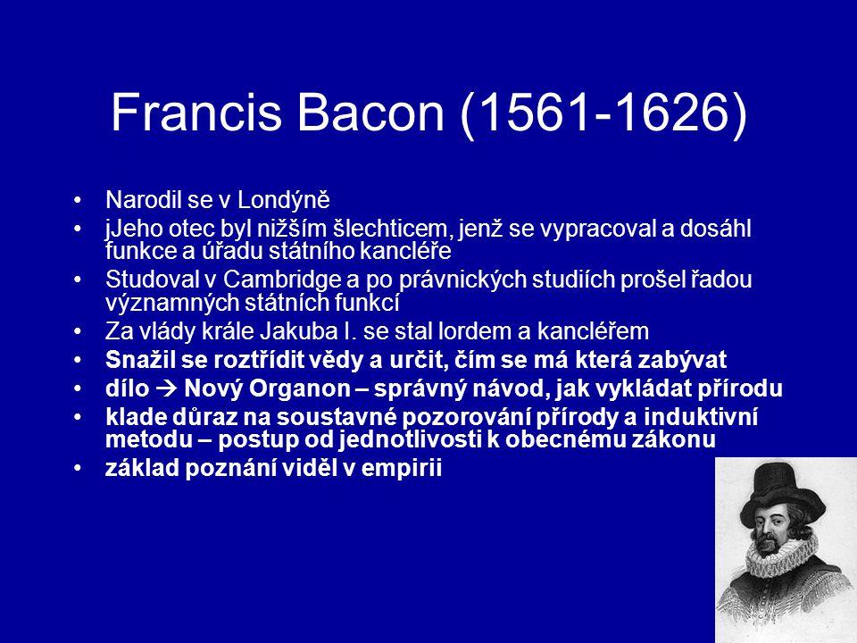 Francis Bacon (1561-1626) Narodil se v Londýně