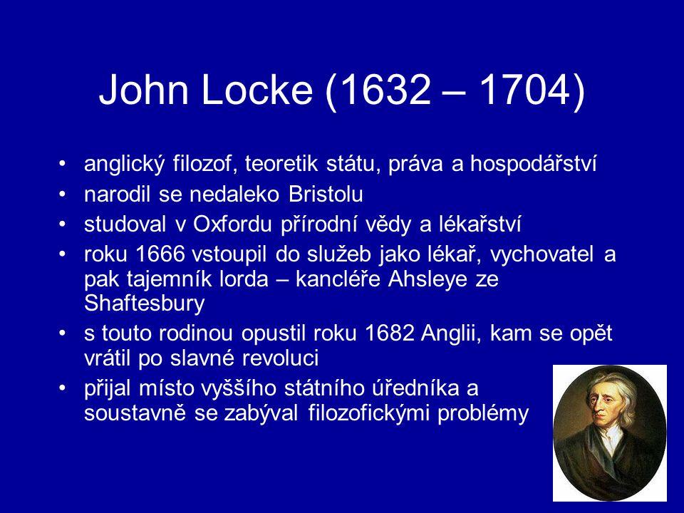 John Locke (1632 – 1704) anglický filozof, teoretik státu, práva a hospodářství. narodil se nedaleko Bristolu.