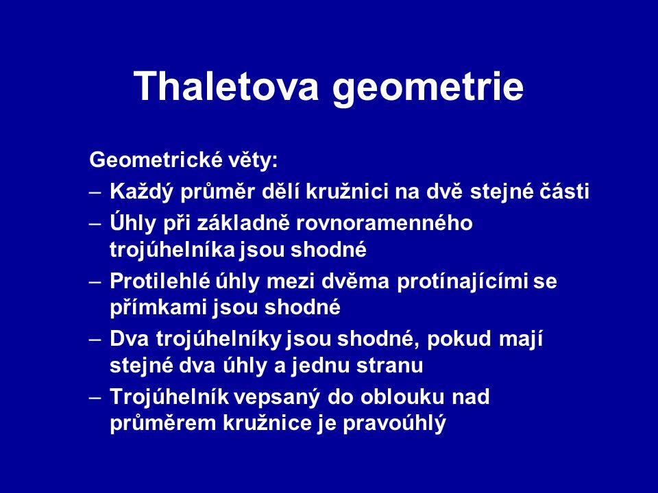 Thaletova geometrie Geometrické věty:
