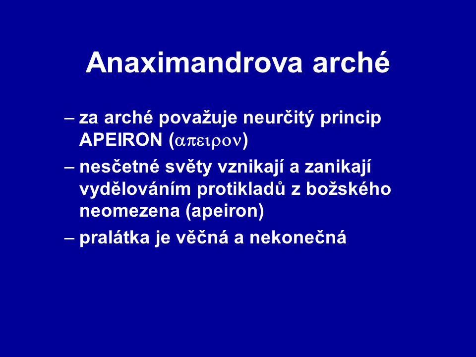 Anaximandrova arché za arché považuje neurčitý princip APEIRON ()