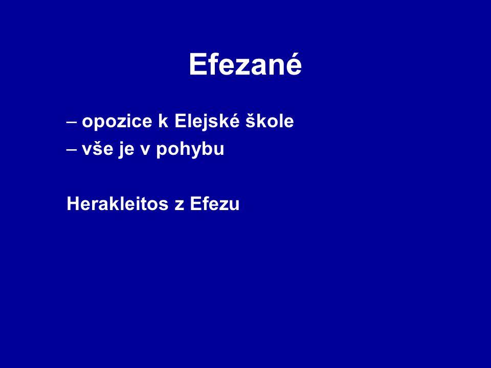 Efezané opozice k Elejské škole vše je v pohybu Herakleitos z Efezu