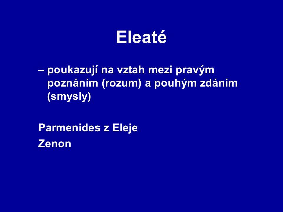 Eleaté poukazují na vztah mezi pravým poznáním (rozum) a pouhým zdáním (smysly) Parmenides z Eleje.