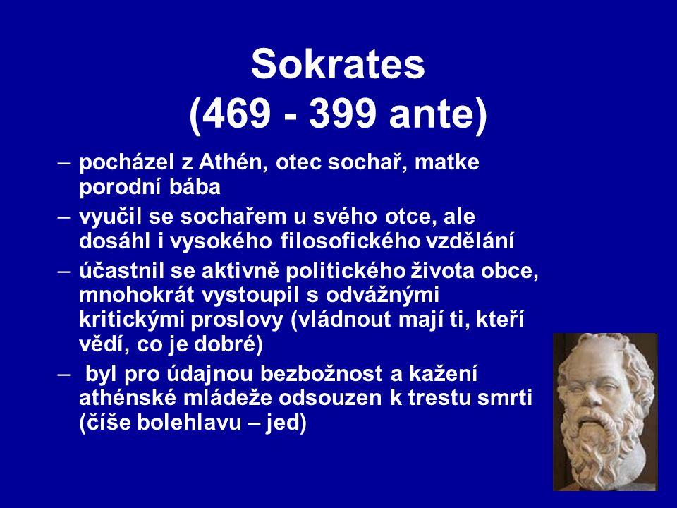 Sokrates (469 - 399 ante) pocházel z Athén, otec sochař, matke porodní bába.