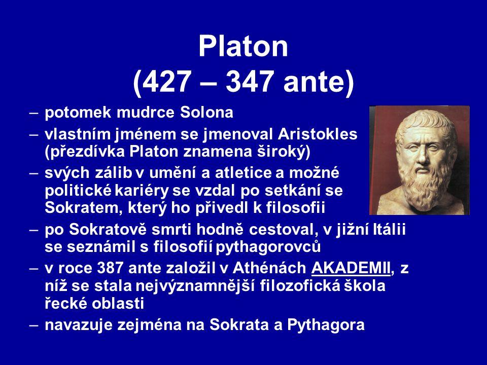 Platon (427 – 347 ante) potomek mudrce Solona