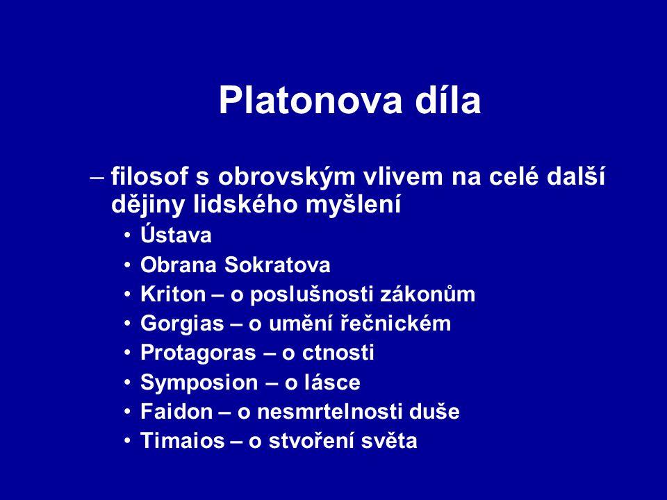 Platonova díla filosof s obrovským vlivem na celé další dějiny lidského myšlení. Ústava. Obrana Sokratova.