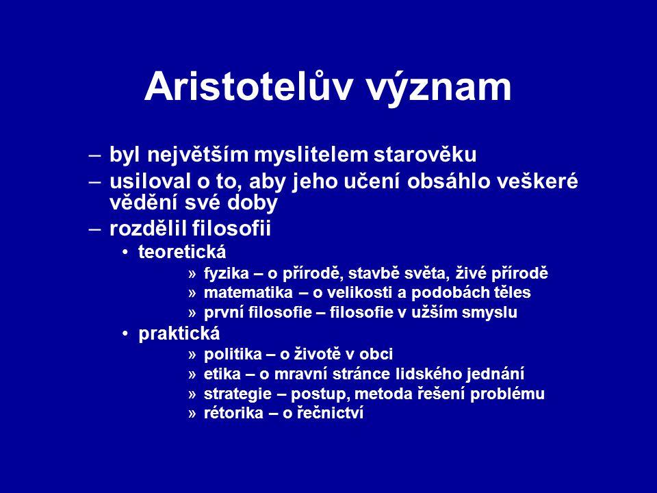 Aristotelův význam byl největším myslitelem starověku