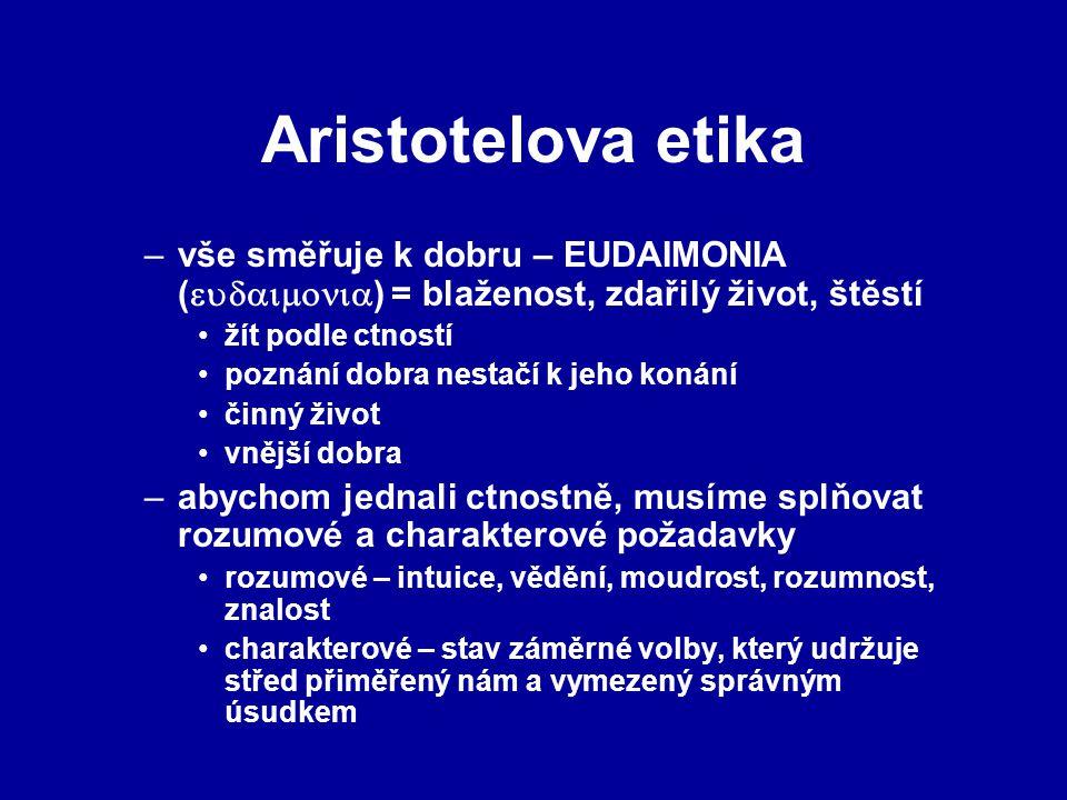 Aristotelova etika vše směřuje k dobru – EUDAIMONIA () = blaženost, zdařilý život, štěstí.