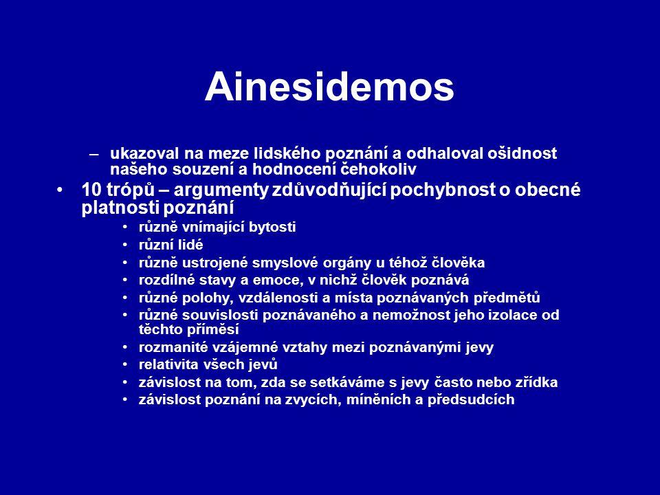 Ainesidemos ukazoval na meze lidského poznání a odhaloval ošidnost našeho souzení a hodnocení čehokoliv.