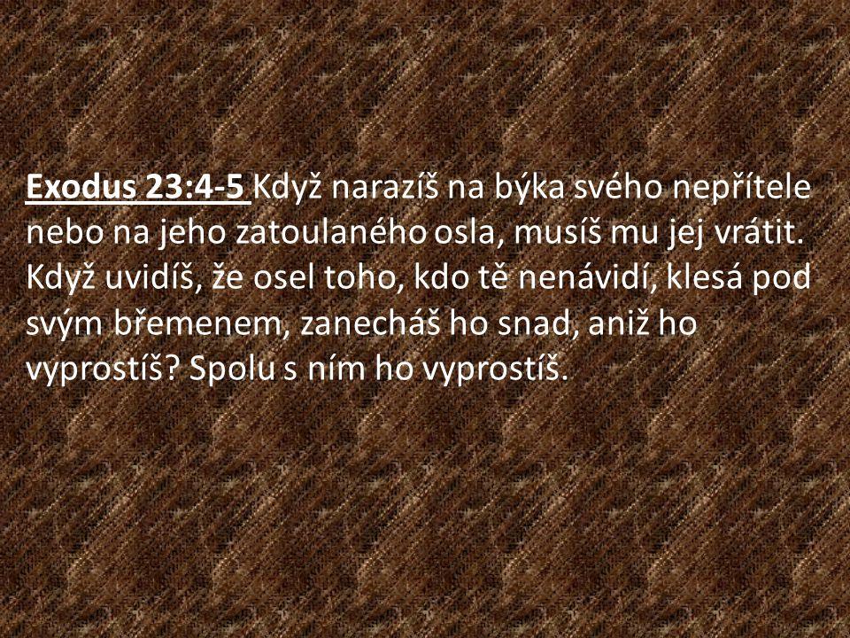 Exodus 23:4-5 Když narazíš na býka svého nepřítele nebo na jeho zatoulaného osla, musíš mu jej vrátit.