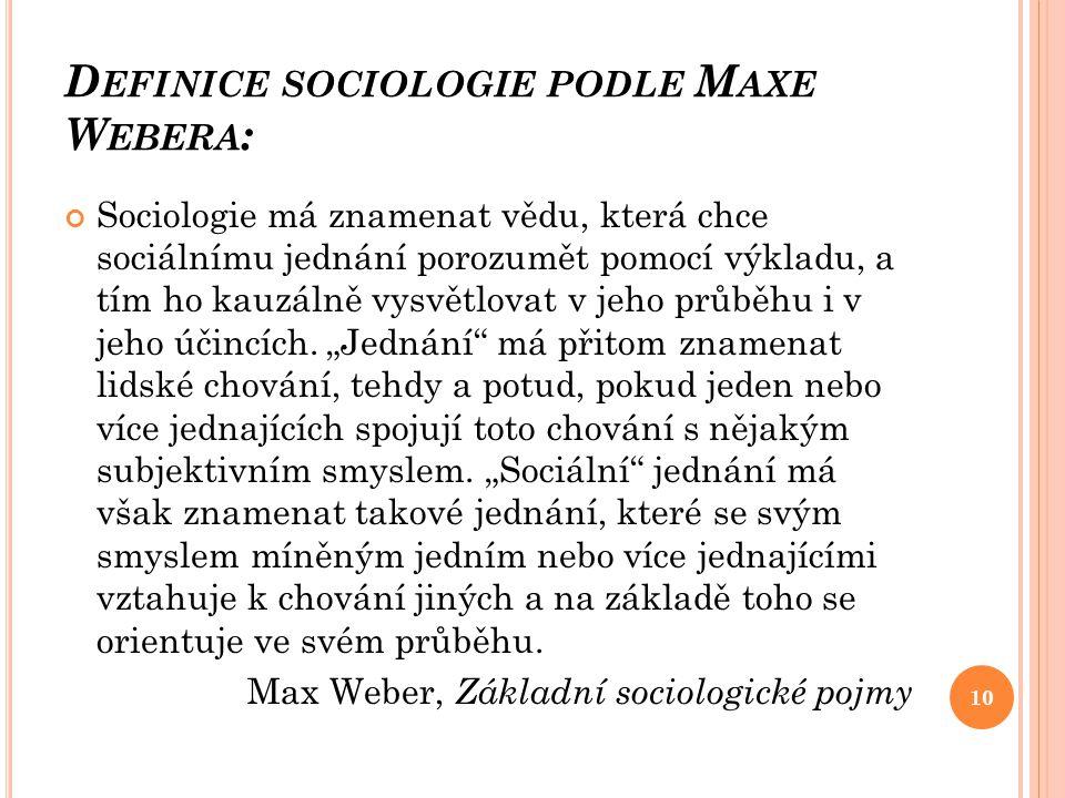 Definice sociologie podle Maxe Webera: