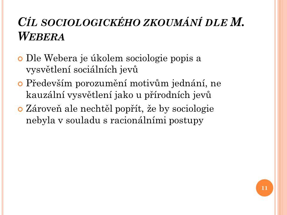 Cíl sociologického zkoumání dle M. Webera