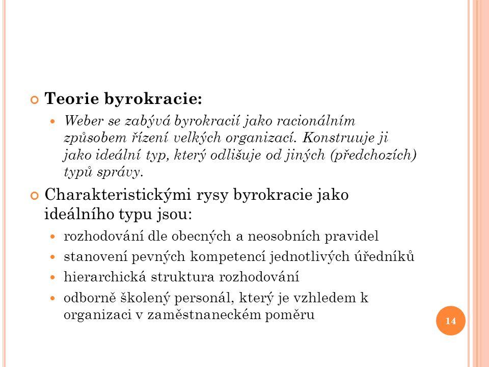 Charakteristickými rysy byrokracie jako ideálního typu jsou: