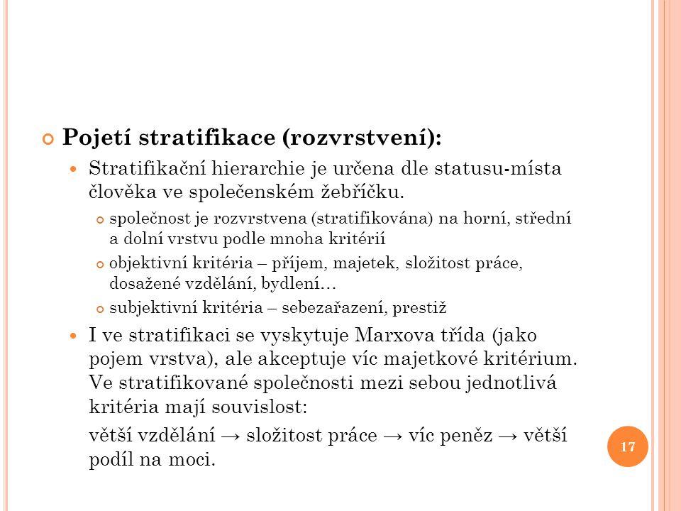 Pojetí stratifikace (rozvrstvení):