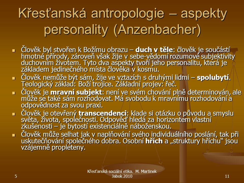 Křesťanská antropologie – aspekty personality (Anzenbacher)