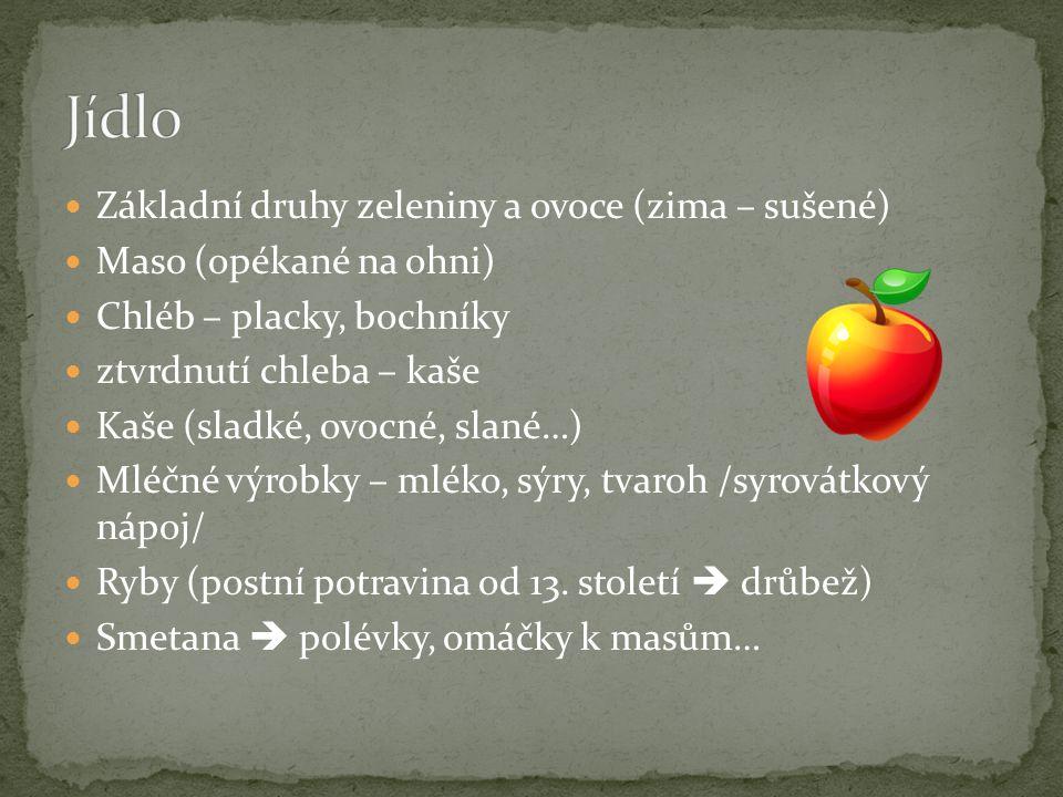 Jídlo Základní druhy zeleniny a ovoce (zima – sušené)
