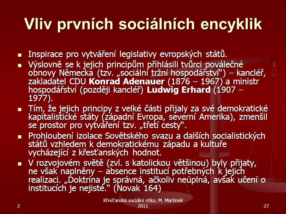 Vliv prvních sociálních encyklik