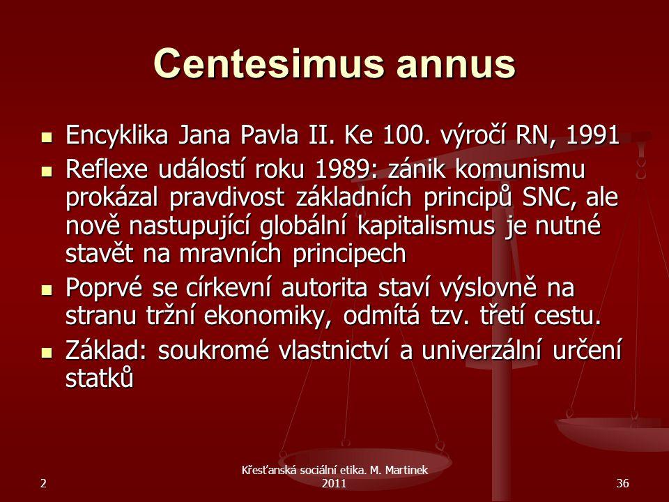 Křesťanská sociální etika. M. Martinek 2011