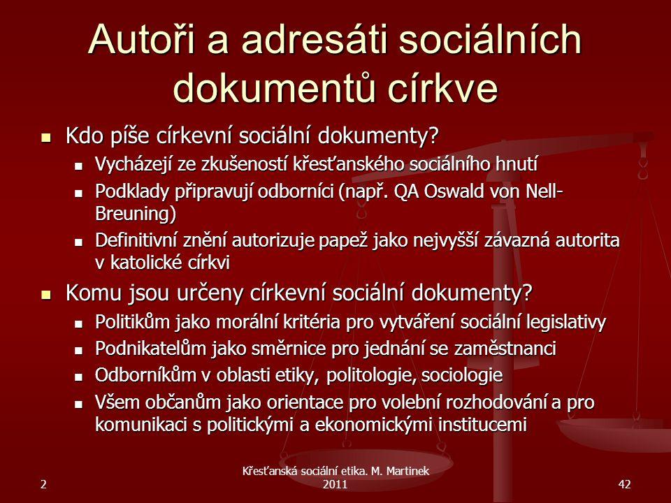 Autoři a adresáti sociálních dokumentů církve