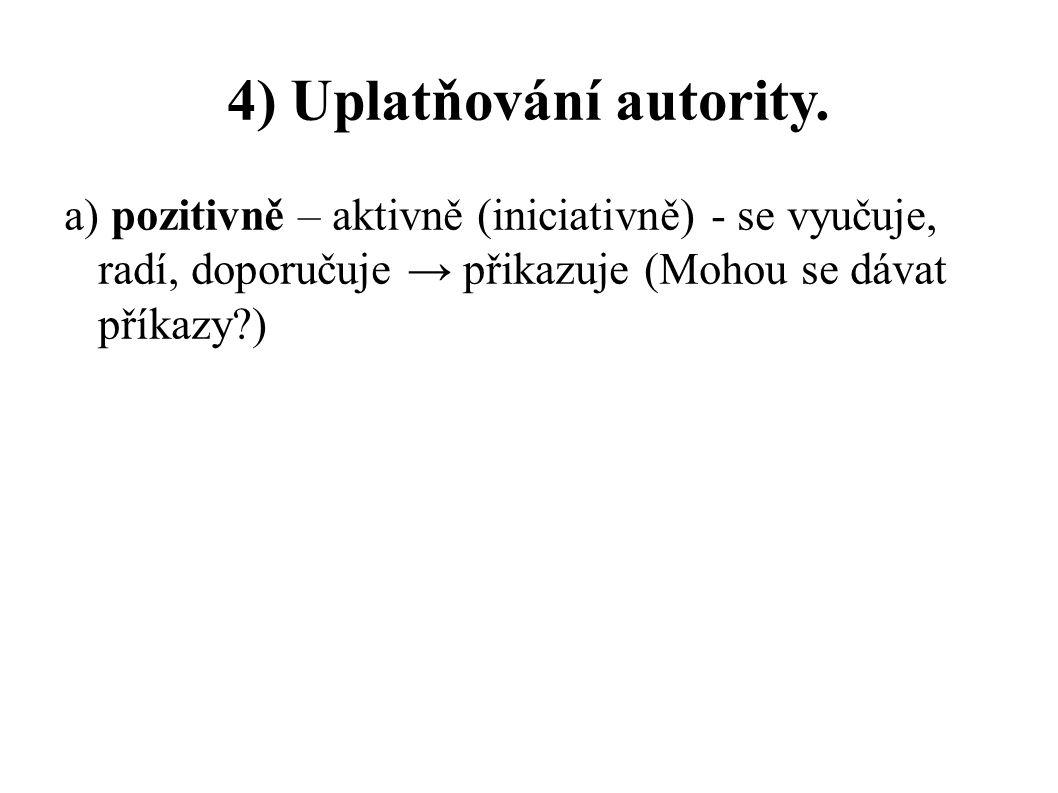 4) Uplatňování autority.