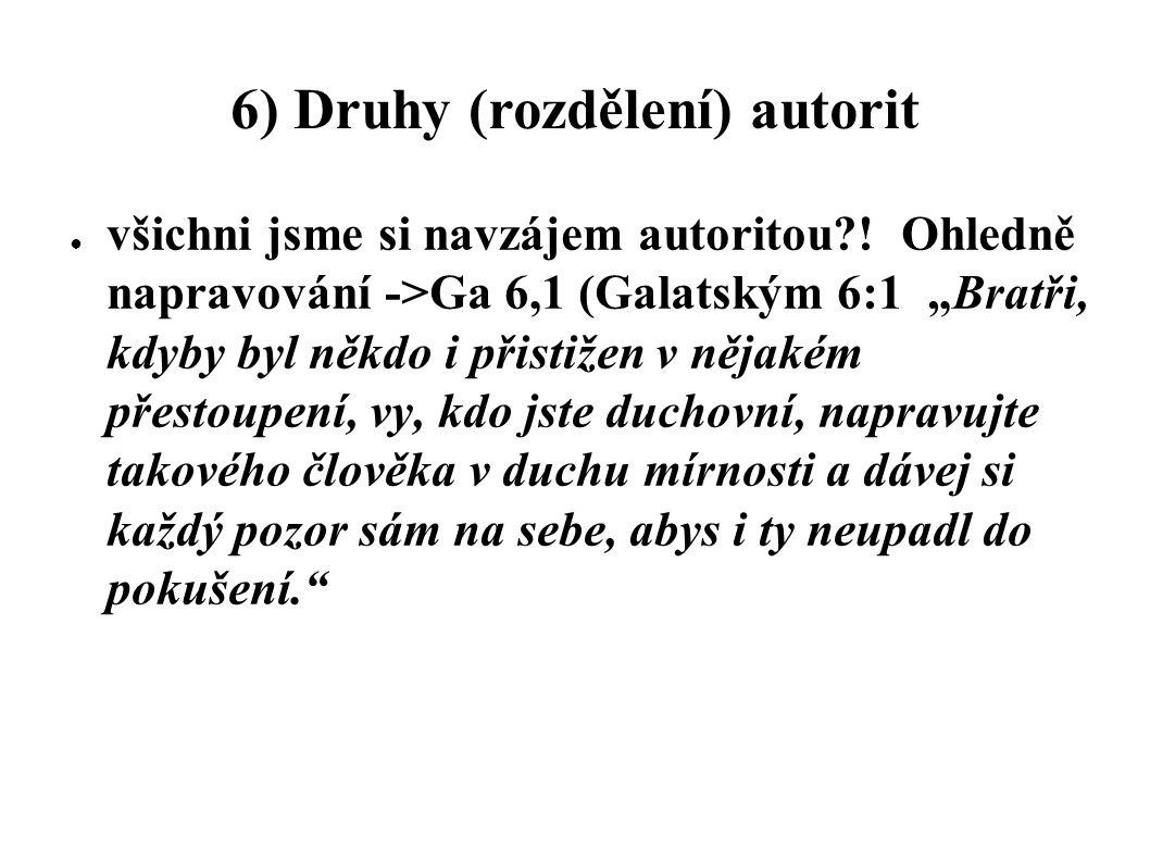 6) Druhy (rozdělení) autorit