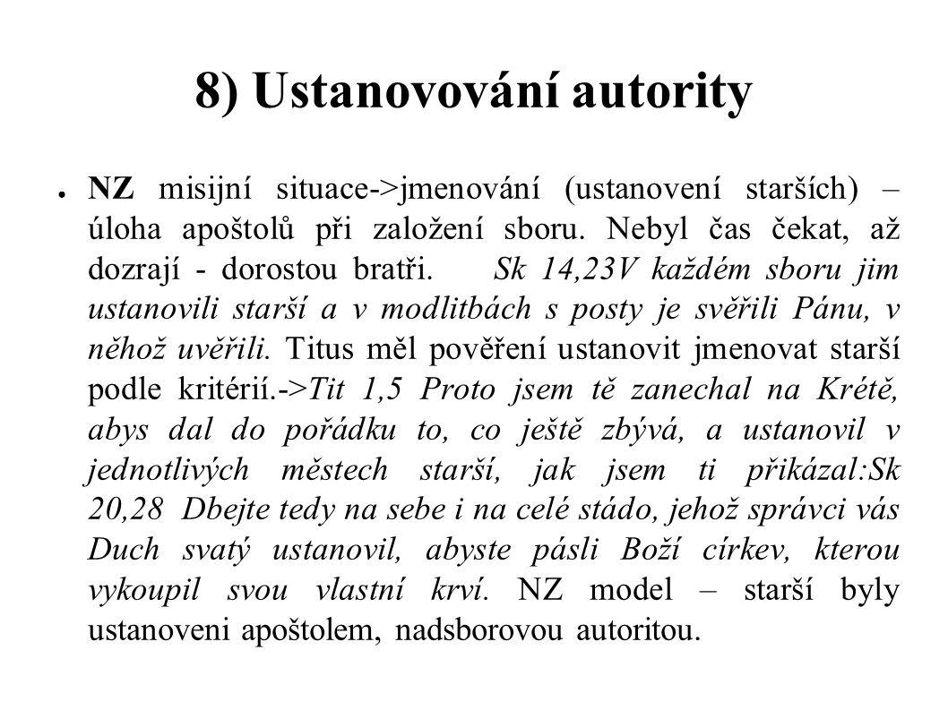 8) Ustanovování autority