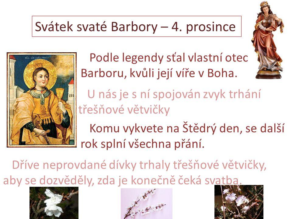 Svátek svaté Barbory – 4. prosince