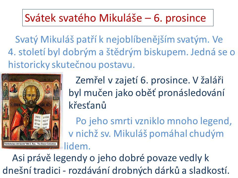 Svátek svatého Mikuláše – 6. prosince